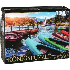 Königspuzzle 1000 - Boats in a mountain lake
