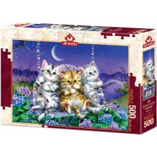 Art Puzzle 500 - Cats on a swing under the moon, Kayomi Haray