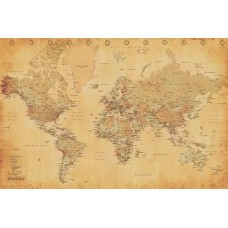WORLD MAP antique style